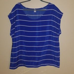 Old navy silky blue and white striped shirt